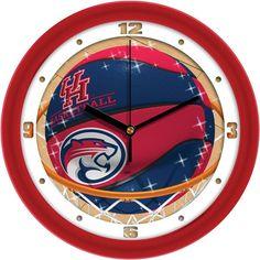 "Houston Cougars 12 inch ""Slam Dunk"" Basketball Wall Clock"
