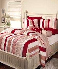 Homemade Quilt - Red, Beige, White