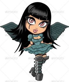 Cute Goth Girl With Wings  #GraphicRiver         Cute sad goth girl with eyeliner, wings and leather boots. Fully editable layered Vector EPS file.     Created: 4October12 GraphicsFilesIncluded: VectorEPS Layered: Yes MinimumAdobeCSVersion: CS Tags: avatar #boots #brunette #cartoon #character #cute #dark #fishnet #girl #goth #gothic #halloween #illustration #leather #pretty #sassy #scary #skirt #teen #tween #vampire #vector #victorian #winged #wings