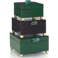 Bridget Hollywood Regency Malachite Green Black Lacquer Boxes - Set of... found on Polyvore