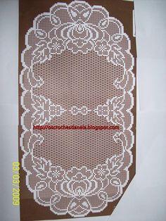 Crochet Art, Crochet Motif, Crochet Doilies, Crochet Patterns, Oval Tablecloth, Crochet Tablecloth, Filet Crochet Charts, Fillet Crochet, Bargello