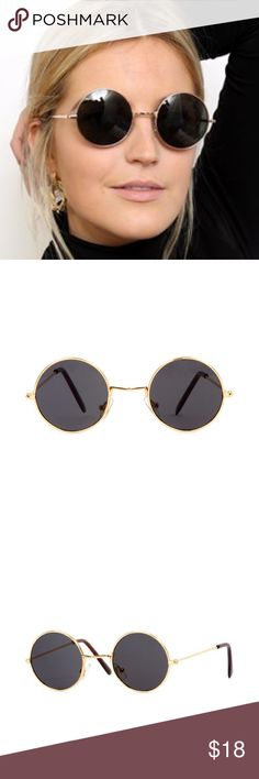 Black and Gold John Lennon Sunglasses Black lens + gold frame. John lennon style sunnies. Free People Accessories Sunglasses