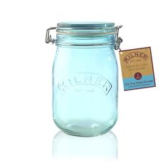 Kilner Clip Top Blue Glass Storage Jar 1L | NuCasa UK