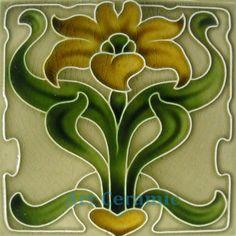 "Art Nouveau reproductie ceramiektegel 6"" #28"