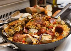 Paella the classic Spanish dish of seafood and rice would pair nicely with an Albarino from the region of Rias Baixas via @dftkissthecook