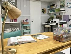 Mary's Craft Room (Corner) • <p>Come on a #CraftRoomTour at Real Girl's Realm and see Mary's craft corner in North Carolina.</p> Hairpin Leg Desk, Do It Yourself Magazine, Turquoise Chair, Mermaid Sign, Clear Bins, Room Corner, Desk Areas, Small Shelves, Craft Corner