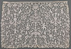 Cravat end Cravat end Date: late 17th century Culture: French Medium: Linen, needle lace (point de France) Dimensions: L. 15 1/2 x W. 11 inches (39.4 x 27.9 cm) Classification: Textiles-Laces