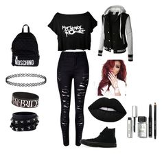 """Emo awesome going out look"" by caitlinashworth60 ❤ liked on Polyvore featuring LE3NO, Converse, Moschino, Valentino, Lime Crime and Bobbi Brown Cosmetics"