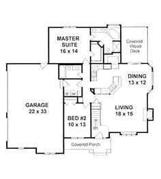 No basement = no stairway Style House Plans - 1309 Square Foot Home , 1 Story, 2 Bedroom and 2 Bath, 3 Garage Stalls by Monster House Plans - Plan 2 Bedroom House Plans, Garage House Plans, Craftsman Style House Plans, Small House Plans, House Floor Plans, Car Garage, Craftsman Homes, Monster House Plans, Cottage Plan