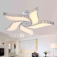 Modern Crystal Pendant Light Ceiling Lamp Chandelier Dining Room Lighting - All About Decoration Ceiling Fan Chandelier, Flush Mount Chandelier, Flower Chandelier, Led Ceiling Lamp, Modern Chandelier, Chandelier Ideas, Crystal Pendant Lighting, Pendant Lamp, Ceiling Pendant