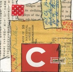 """""""Control"""" Mixed-media collage with vintage papers in the Alphabet Series. 4″ x 4″"""
