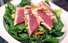 Grill the tuna and steam the pak choi.  Stirfry with the rest of the ingredients with the soya sauce.