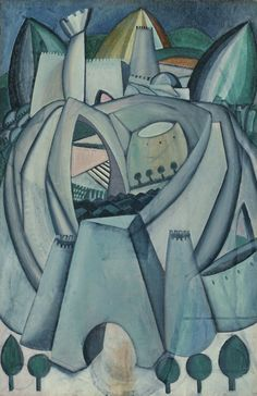 """Stronghold, Amadeo de Souza-Cardoso, 1912.    Depecting a building structure, integrating various perspectives (""""bend reality""""), this picture somehow reminds me of the more recent work by Zaha Hadid."""