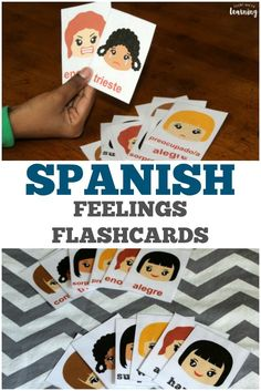 Pick up these printable English to Spanish feelings flashcards to help kids learn how to express their emotions in Spanish!
