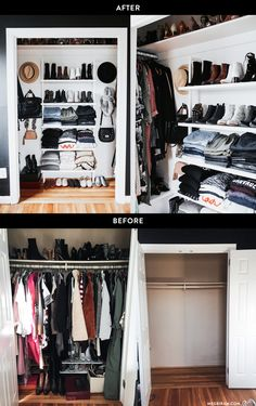 Before & After: Small Reach-In Closet Renovation Meg Biram shows the step-by-step renovations she and her husband did to her small, reach-in closet in Washington, DC. Small Closet Space, Reach In Closet, Tiny Closet, Master Closet, Closet Bedroom, Small Closets, Dream Closets, Closet Redo, Open Closets