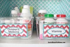 Linus Open Cabinet Organizers for vitamins & medicine.