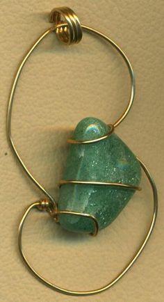 Green Aventurine Gold Wire Wrap Pendant