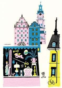 Gamla stan, Stockholm illustration by Olle Eksell.