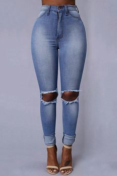 Blue Fashion Middle Waist Ripped Skinny Jeans - US$23.95 -YOINS