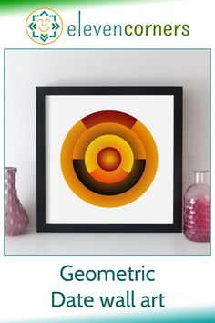 This geometric artwork translates the portions of a date (day of the week, day, month, year) into different coloured proportions of each of the rings. It's a striking way to display a specific date and makes a unique personalised gift idea for her. #elevencorners #geometric #personalisedprint #wallart #giftsforher Personalized Retirement Gifts, Personalised Gifts For Him, Personalised Prints, Personalized Wall Art, New Home Presents, New Home Gifts, Geometric Artwork, Graphic Artwork, Unique Wedding Gifts