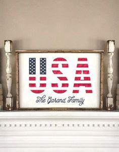 USA Flag Family Framed Wood Sign – 18×26