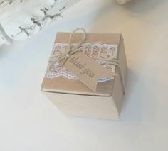 Shabby+Chic+Lace+Wedding+kraft+favor+box++2x2x2+by+CrazyPaperLove,+$2.09