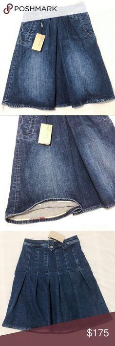"""Denim pleat front skirt Burberry 2 pocket pleat front denim skirt. Authentic. Color denim blue, size US6 / UK8 waist 28"""", length 21 1/2"""", check branding inside skirt at hem, side zipper, 98% cotton 2% elastane, brand new made in Turkey. Burberry Skirts A-Line or Full"""