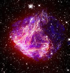 Supernova N49: This is a composite image of N49, the brightest supernova remnant in optical light in the Large Magellanic Cloud. The Chandra X-ray image (blue) shows million-degree gas in the center. Much cooler gas at the outer parts of the remnant is seen in the infrared image from Spitzer (red). Taken on June 15, 2006.