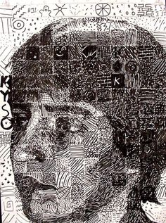 Chuck Close Art Project idea for Upper Middle School and High School. Draw different textures/patterns or even hidden objects of various values in each square.