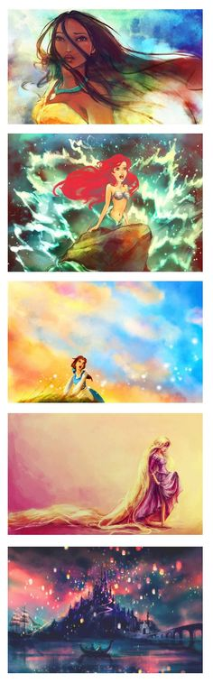 These Disney paintings are GORGEOUS! If I ever have a daughter, these are going in her room! you know what there going in mine! reason i love fan art Disney Magic, Disney Pixar, Walt Disney, Disney Animation, Disney Amor, Disney And Dreamworks, Disney Girls, Disney Love, Disney Characters