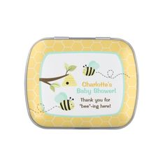 Yellow Bumble Bee Custom Jelly Bean Tin (Blue)  #beethemedparty #favors #favours
