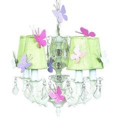 Jubilee Collection 7037-6511-Butterfly Chand - 5-arm Stacked Glass Ball - White with  SC Shade - Plain - Green with