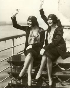The Singing Dolly Sisters Set Sail, New Years Day, 1927 (unknown photographer)