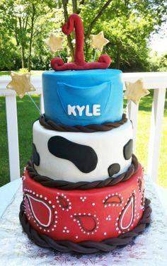 Cowboy themed birthday cake - buttercream iced