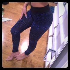Aztec print leggings Navy blue and black tribal/aztec print leggings. Pink republic Pants Leggings