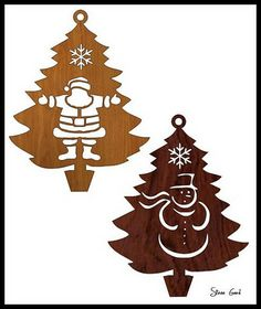 fourScroll Saw Patterns Free Design | Scrollsaw Workshop: Four Christmas Tree Ornaments Scroll Saw Patterns.