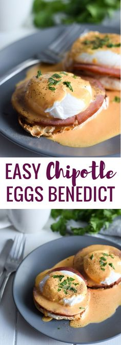 Easy Chipotle Eggs Benedict recipe made with a lightened-up blender chipotle hollandaise sauce. Ready in only 25 minutes and is the perfect brunch! via /isabeleats/