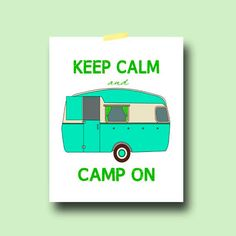 Retro Vintage Camper Art Print poster 8x10 camping keep calm turquoise gift home decor on Etsy, $14.95