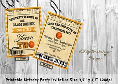 Items similar to Basketball invitation, Basketball ticket pass invite, Two sides birthday invite , Game birthday ticket, Printable - Personalized on Etsy Basketball Tickets, Basketball Party, Basketball Birthday, Game Tickets, Birthday Party Invitations, No Time For Me, Invite, Printables, This Or That Questions