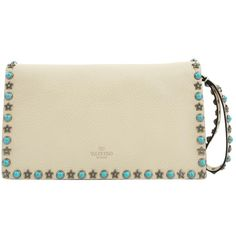 Pre-owned Valentino Leather Clutch Bag ($1,138) ❤ liked on Polyvore featuring bags, handbags, clutches, beige, women bags clutch bags, studded purse, studded leather purse, preowned handbags, leather purses and genuine leather purse