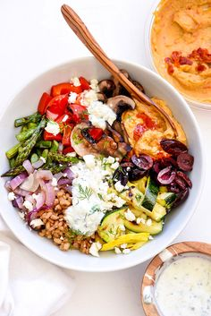 Chopped Grilled Vegetables with Farro Bowl   foodiecrush.com