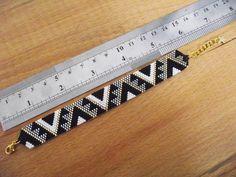 Geometric Patterns Bracelet - Handmade Miyuki Beaded Bracelet - Black, White, Silver and Gold Bracelet - Delicate Bracelet Bead Crochet Patterns, Beaded Bracelet Patterns, Peyote Patterns, Beaded Bracelets, Beading Patterns, Geometric Patterns, Miyuki Beads, Beadwork Designs, Loom Beading