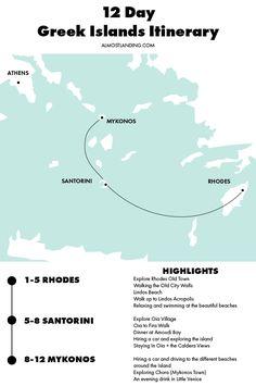 Greek Islands Itinerary Map