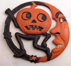 Vintage Halloween Die Cut ~ Running Jack O' Lantern Man & Crescent Moon - Made in Germany ©1920