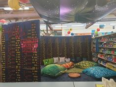 """I created this """"Secret Reading Room"""" for the students to enjoy quiet reading time. Complete with reading quote pillows. Reading Time, Reading Room, Pillow Quotes, Reading Quotes, Students, Pillows, Quotes On Reading, Quote Pillow, Cushions"""