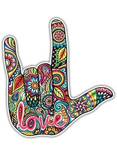 I Love You Sign Language Hand Sticker Decal Multicolor Car Decal Laptop Decal Wall Art Love ASL Hand Sign Cute Car Sticker Symbol Hippie – Car stickers Hippie Love, Hippie Art, Hippie Kunst, Car Stickers, Laptop Stickers, Car Decals, Sign Language Art, I Love You Signs, Hand Sticker