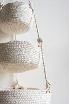 The Northern Market Multi-Tier Hanging Basket on Garmentory Sisal, Rope Basket, Basket Weaving, Hanging Fruit Baskets, Rope Crafts, Hanging Rope, Country Crafts, Clothes Line, Cotton Rope