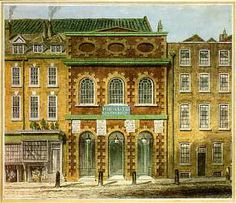 The Italian Opera House (King's Theatre), built by John Vanbrugh, at the Haymarket. It was destroyed by a fire on 17th June 1789. The first performance of Rodelinda took place here on 13th February 1725.