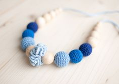 Teething necklace / Crochet nursing necklace - Shades of blue, Denim colors. $23.00, via Etsy.