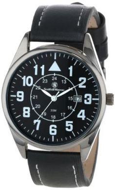 af1b008359a90 Relógio Smith   Wesson Men s SWW-6063 The Civilian Black Leather Strap  Watch  Relógio